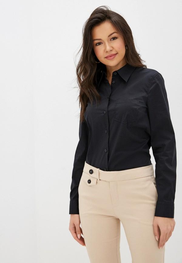 женская рубашка с длинным рукавом united colors of benetton, черная