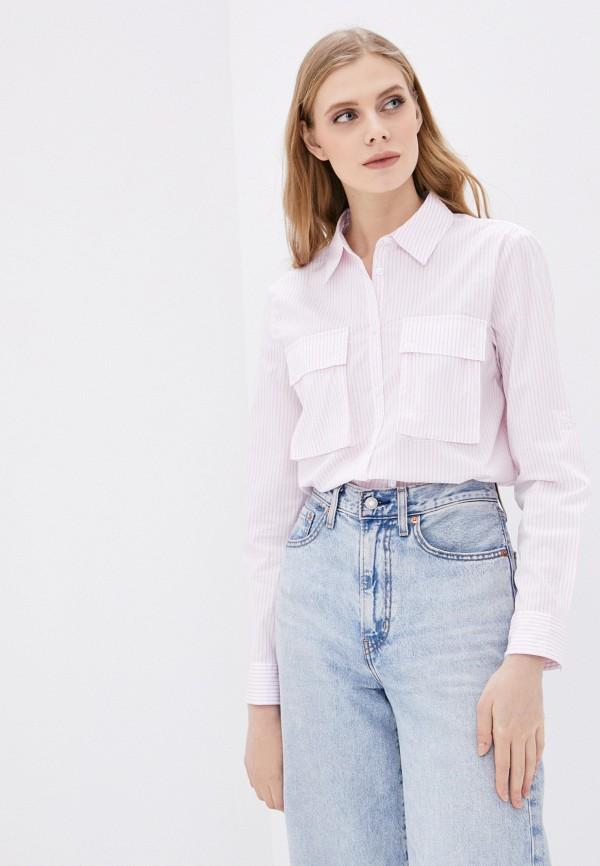женская рубашка с длинным рукавом united colors of benetton, розовая