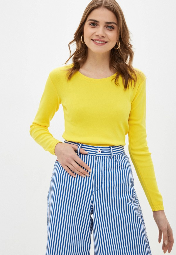 женский джемпер united colors of benetton, желтый