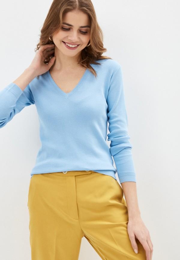 женский пуловер united colors of benetton, голубой