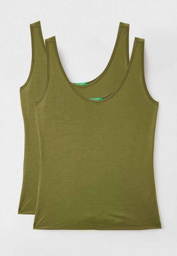 женская майка united colors of benetton, зеленая