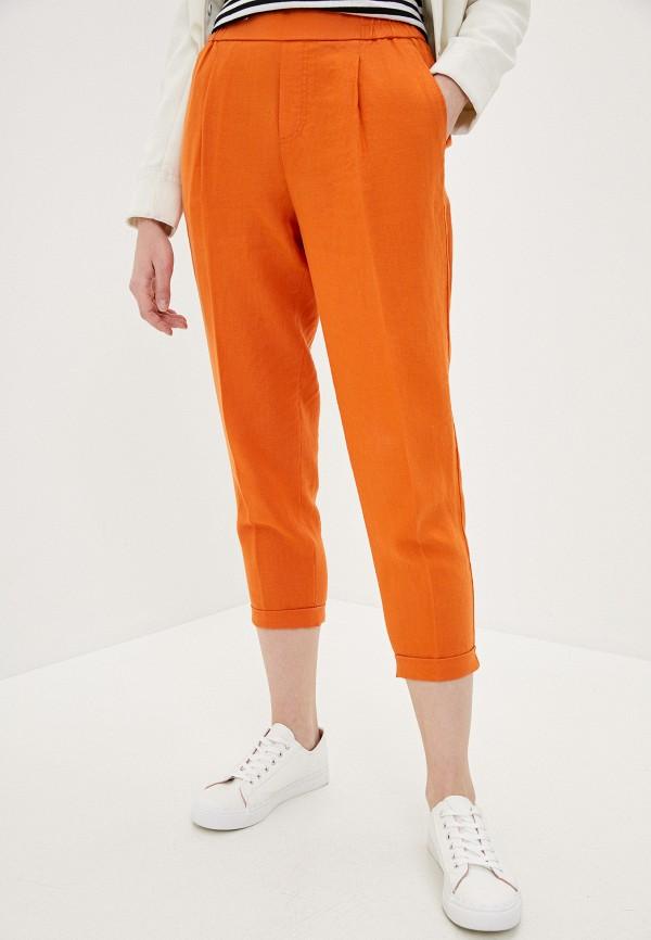 женские повседневные брюки united colors of benetton, оранжевые
