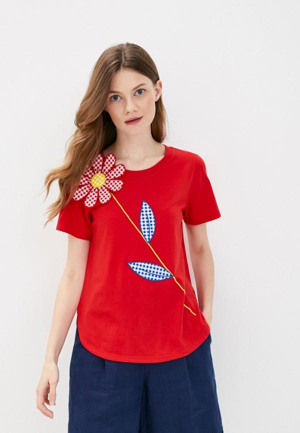 женская футболка united colors of benetton, красная