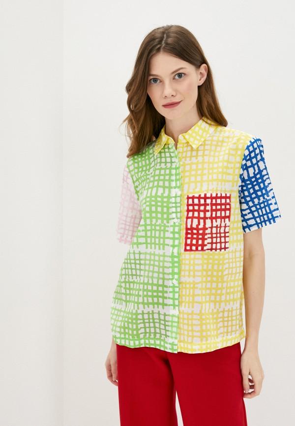 женская рубашка с коротким рукавом united colors of benetton, разноцветная
