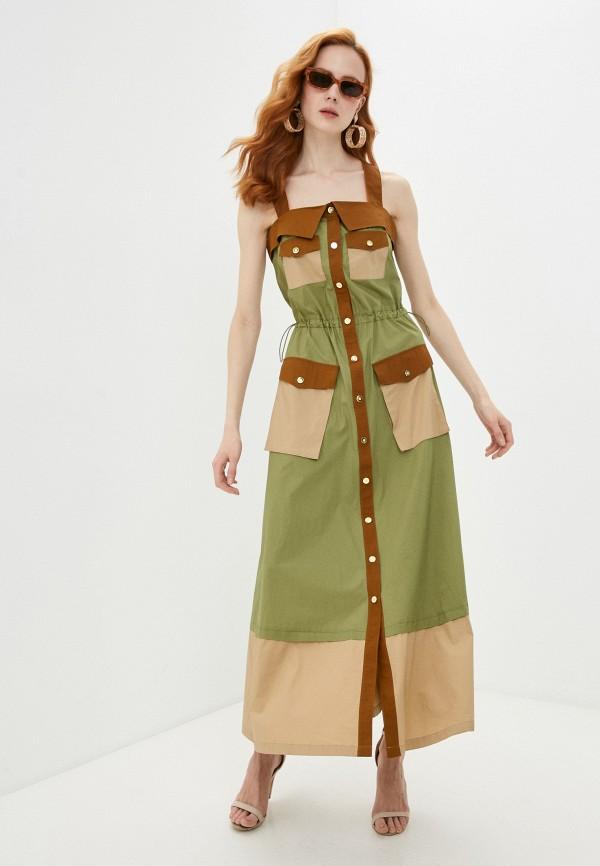 женский сарафан united colors of benetton, зеленый