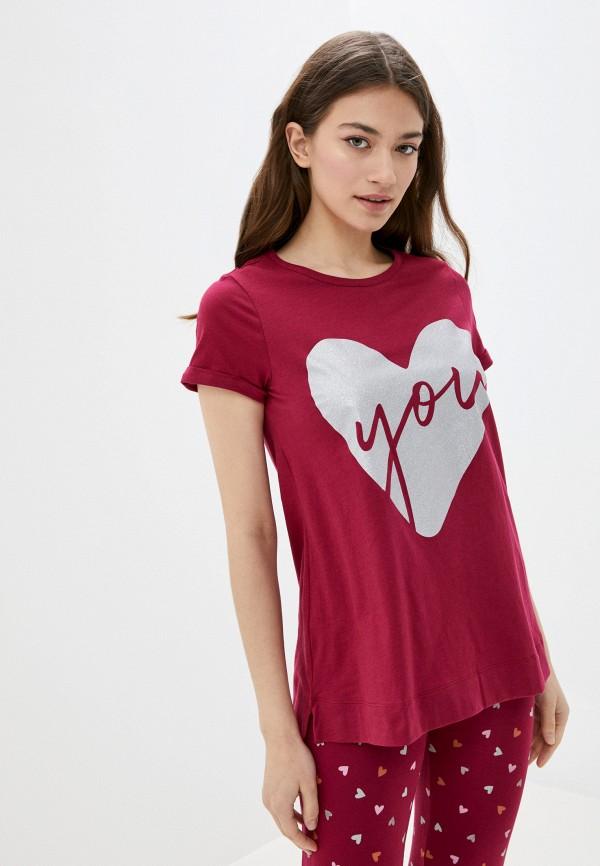 женская футболка united colors of benetton, бордовая