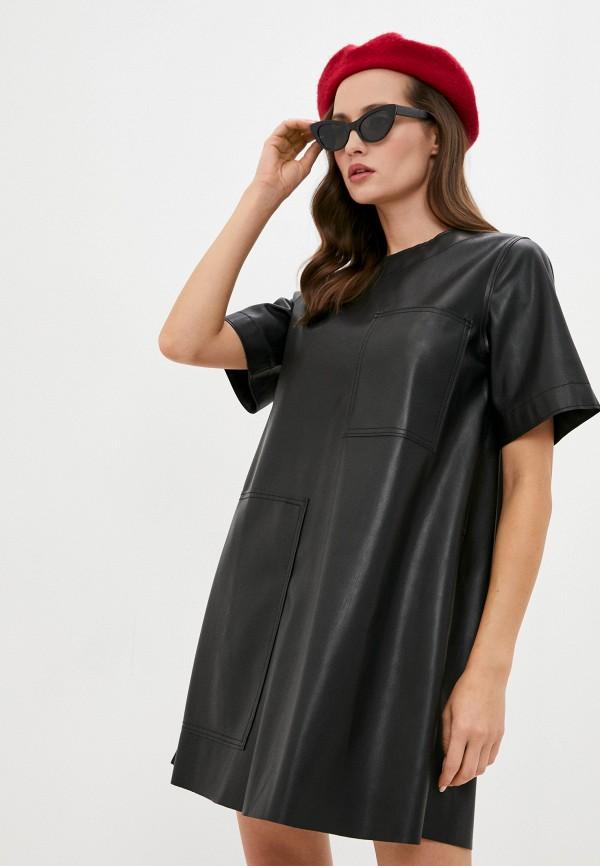 женское кожаные платье united colors of benetton, черное