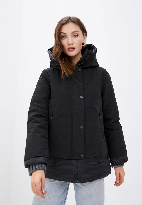 женская утепленные куртка united colors of benetton, черная