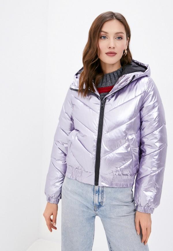женская утепленные куртка united colors of benetton, фиолетовая