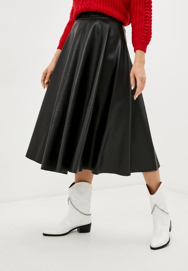 женская кожаные юбка united colors of benetton, черная