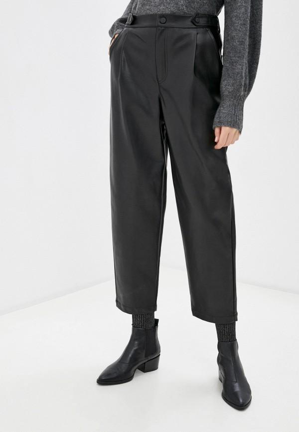 женские кожаные брюки united colors of benetton, черные