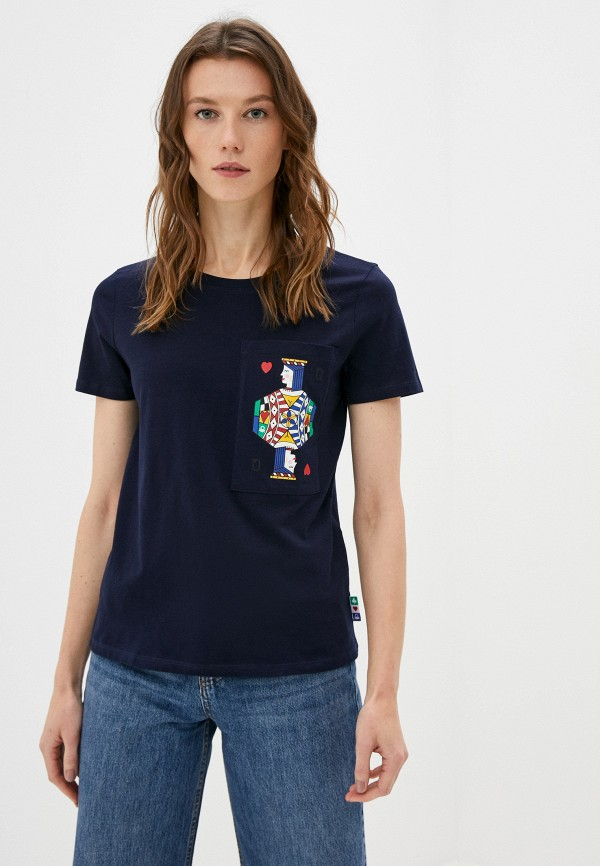 женская футболка united colors of benetton, синяя
