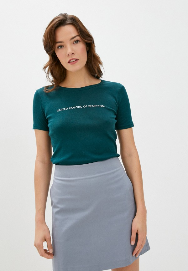 женская футболка united colors of benetton, зеленая