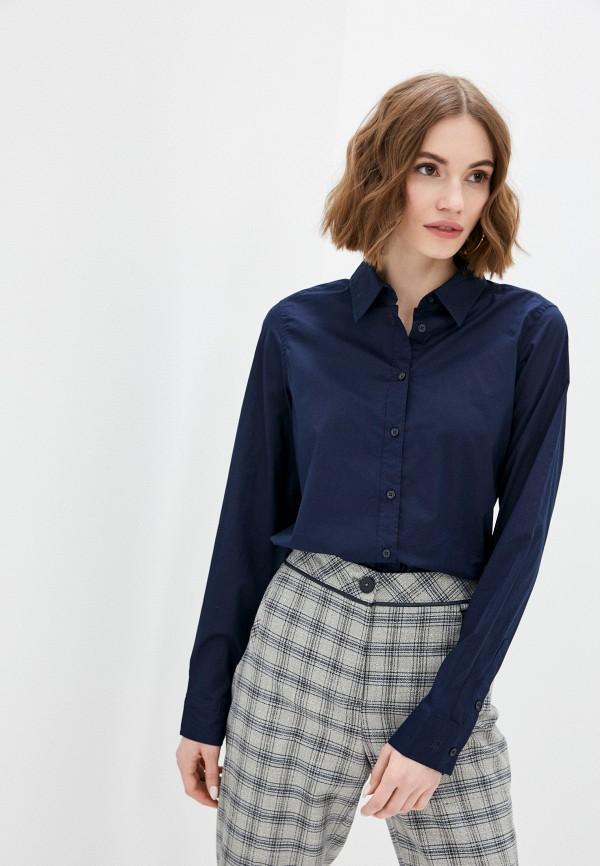 женская рубашка с длинным рукавом united colors of benetton, синяя