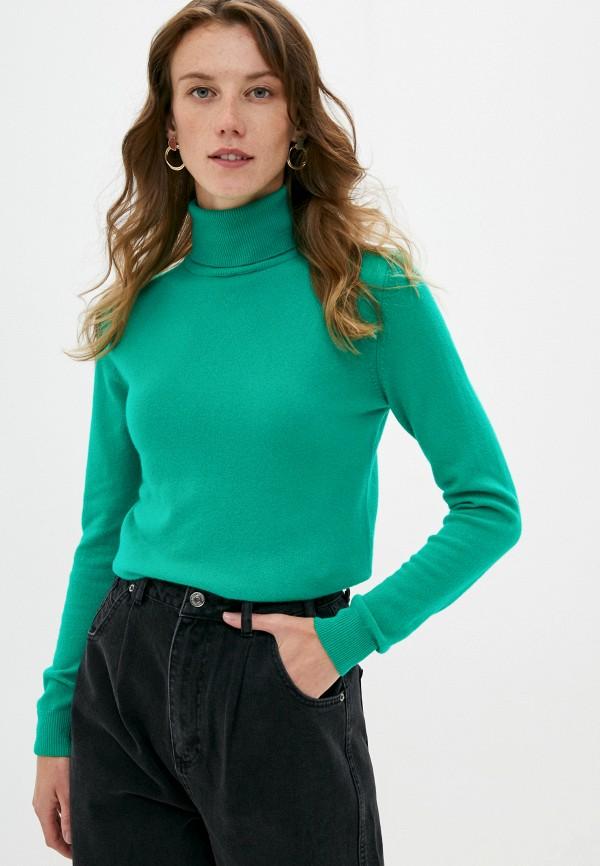 женская водолазка united colors of benetton, зеленая