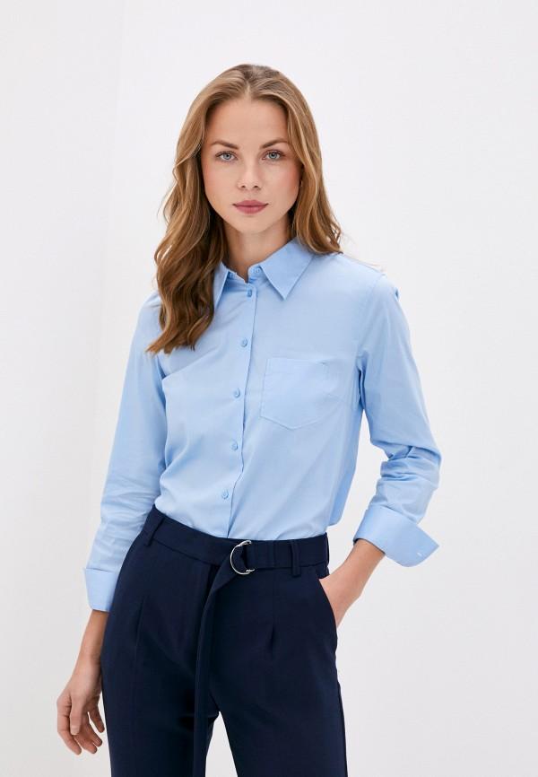 женская рубашка с длинным рукавом united colors of benetton, голубая