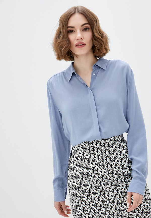 женская блузка united colors of benetton, голубая