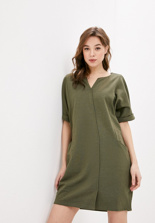 женское платье-футболки united colors of benetton, хаки