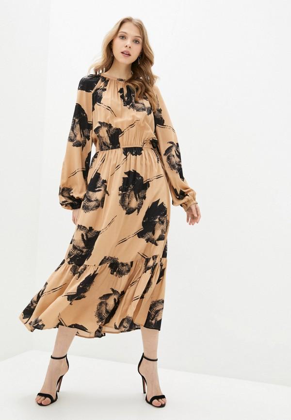 женское повседневные платье united colors of benetton, коричневое