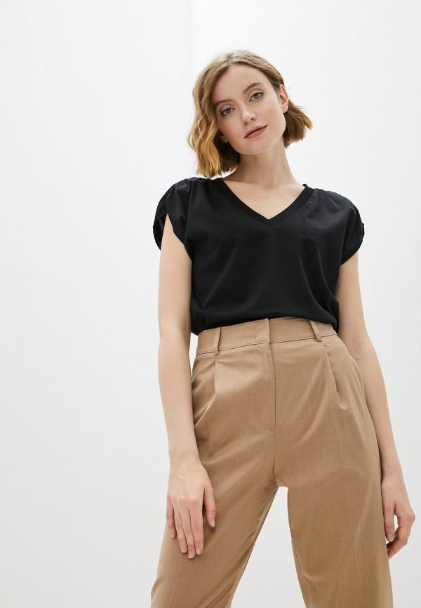 женская футболка united colors of benetton, черная