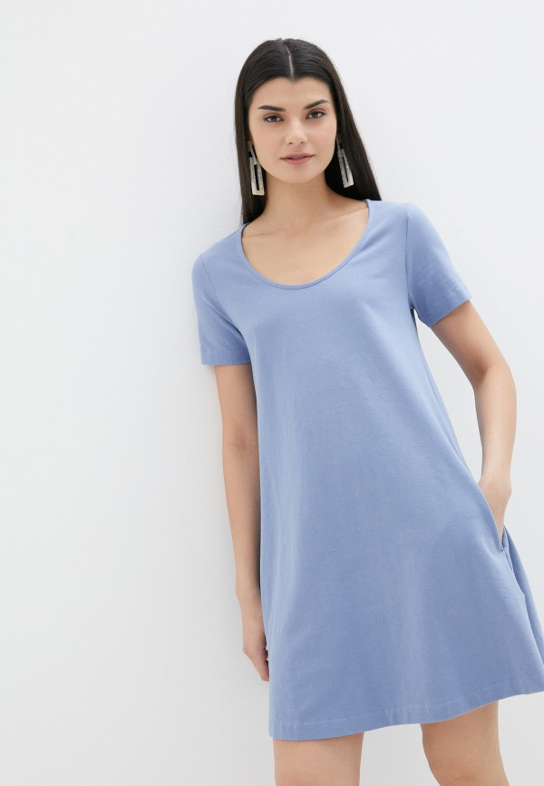 женское платье-футболки united colors of benetton, голубое