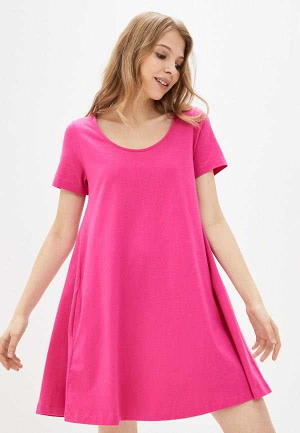 женское платье-футболки united colors of benetton, розовое