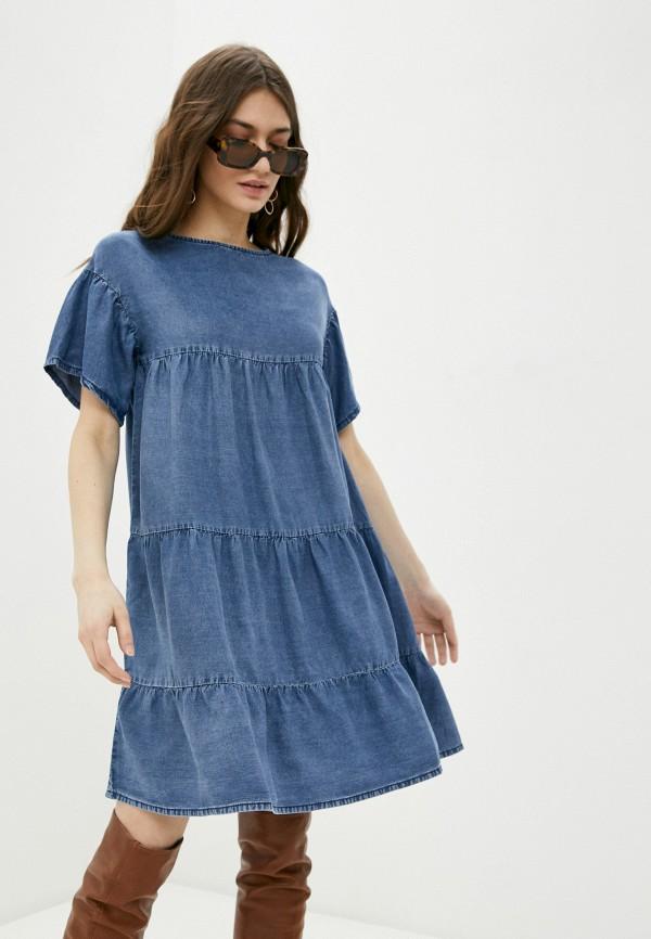 женское джинсовые платье united colors of benetton, голубое