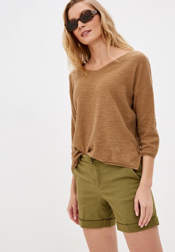 женский пуловер united colors of benetton, коричневый