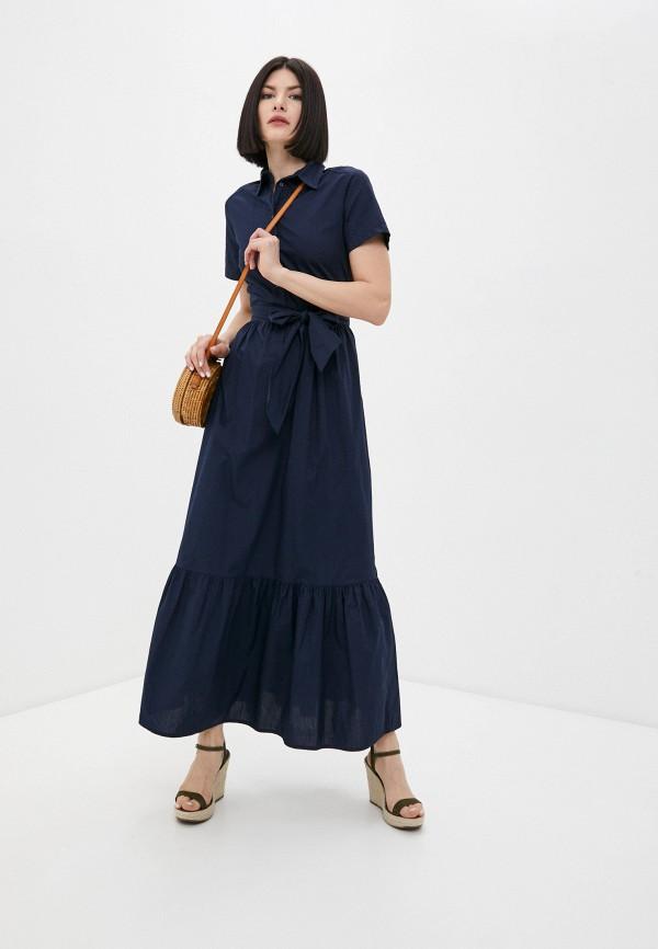 женское платье-рубашки united colors of benetton, синее