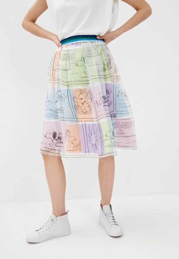 женская юбка united colors of benetton, разноцветная