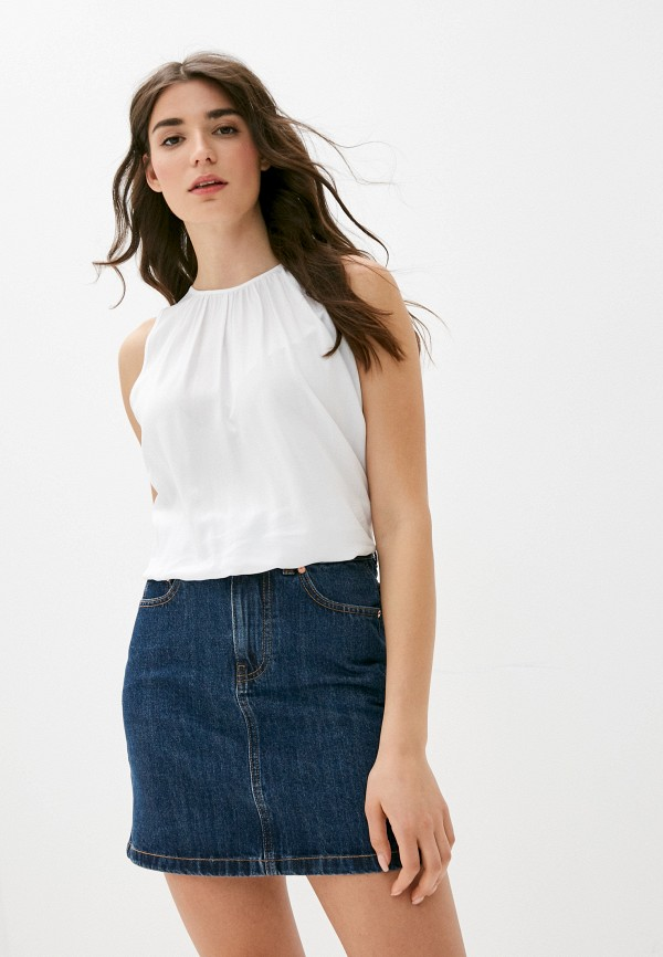 женская блузка без рукавов united colors of benetton, белая