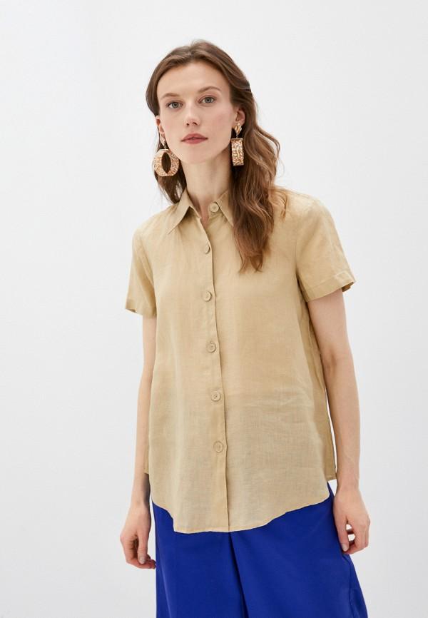 женская рубашка с коротким рукавом united colors of benetton, бежевая