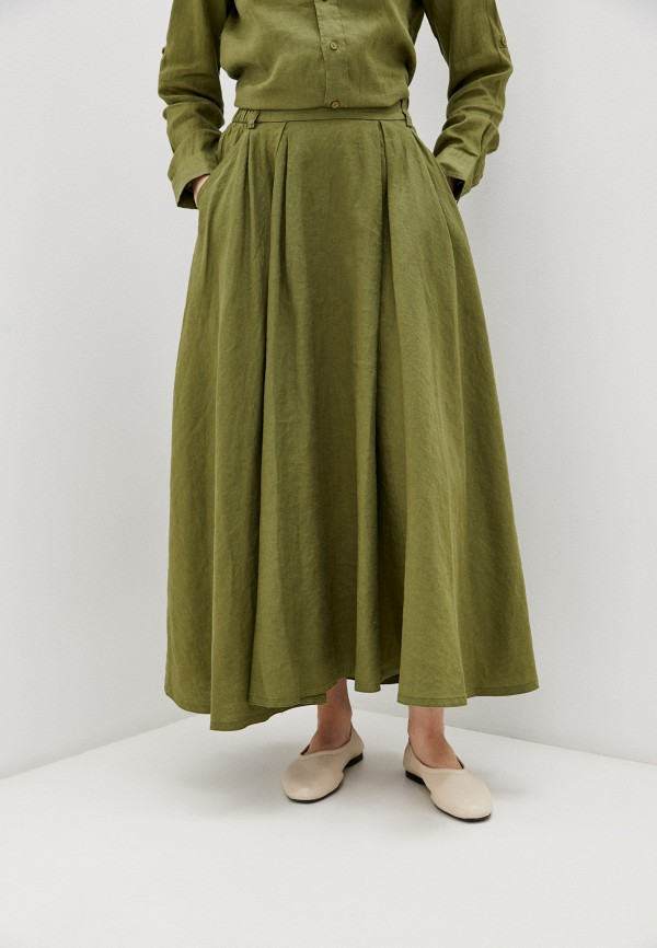 женская юбка-трапеции united colors of benetton, хаки