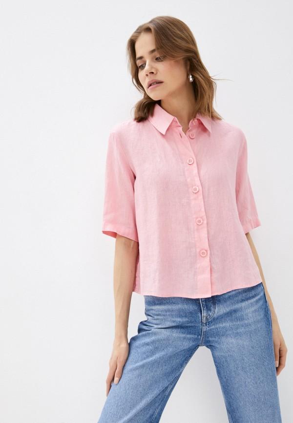женская рубашка с коротким рукавом united colors of benetton, розовая