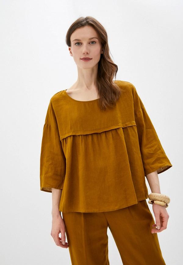 женская блузка united colors of benetton, коричневая