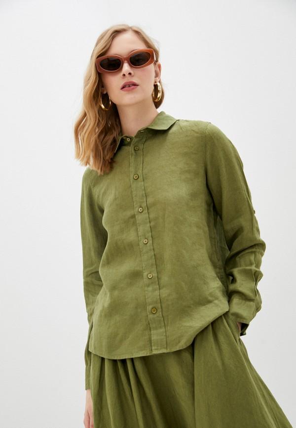 женская рубашка с длинным рукавом united colors of benetton, хаки