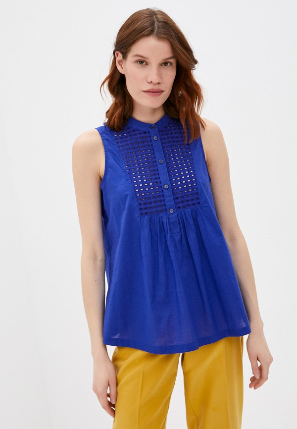 женская блузка без рукавов united colors of benetton, синяя