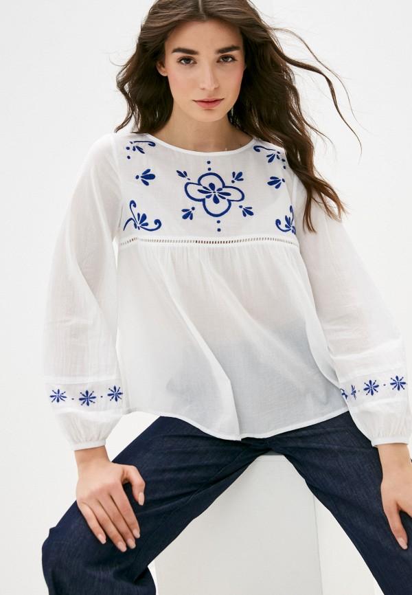 женская блузка с длинным рукавом united colors of benetton, белая