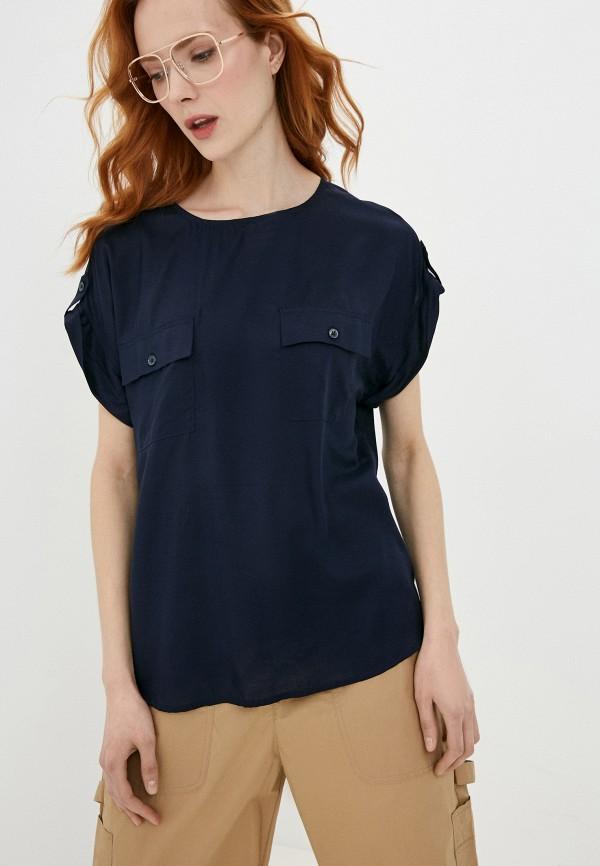 женская блузка с коротким рукавом united colors of benetton, синяя