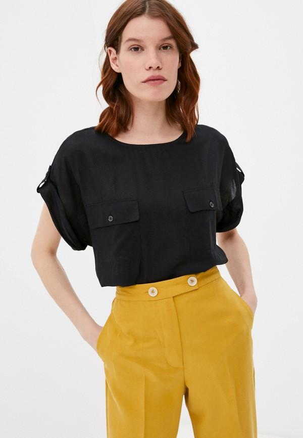 женская блузка с коротким рукавом united colors of benetton, черная