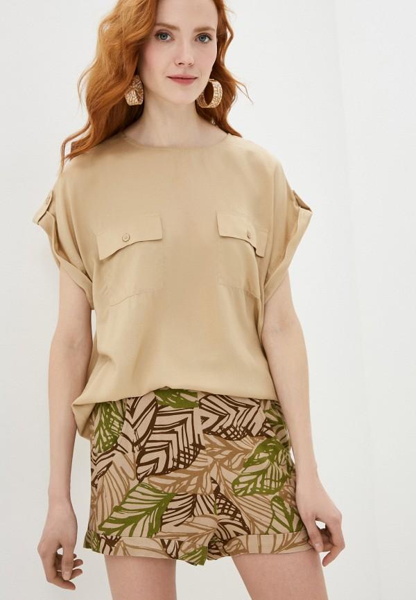 женская блузка без рукавов united colors of benetton, бежевая
