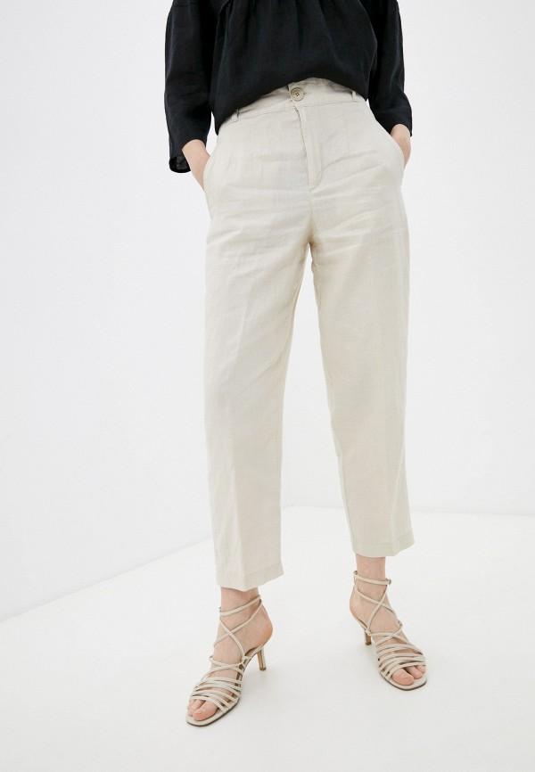женские зауженные брюки united colors of benetton, бежевые
