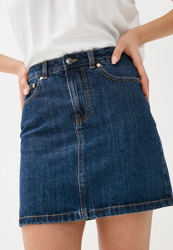 женская джинсовые юбка united colors of benetton, синяя