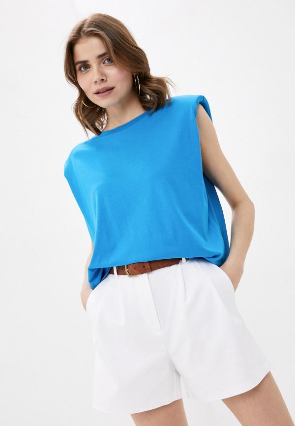 женская майка united colors of benetton, голубая
