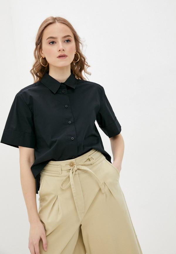 женская рубашка с коротким рукавом united colors of benetton, черная