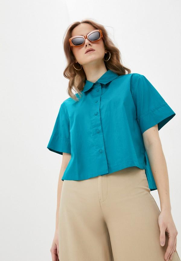 женская рубашка с коротким рукавом united colors of benetton, зеленая