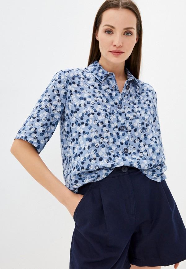 женская рубашка с коротким рукавом united colors of benetton, голубая