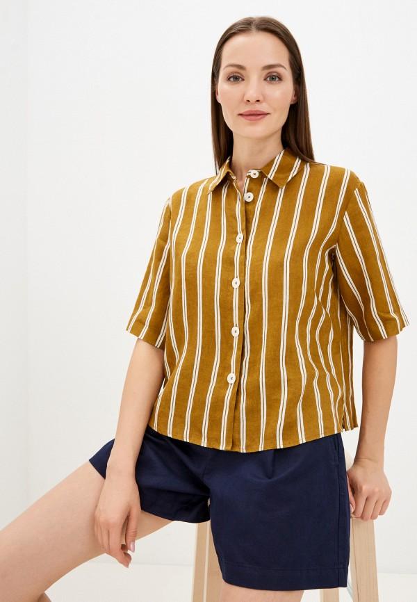 женская рубашка с коротким рукавом united colors of benetton, коричневая