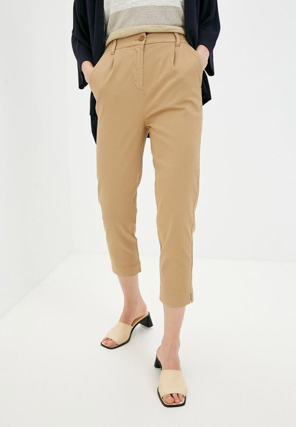 женские прямые брюки united colors of benetton, коричневые