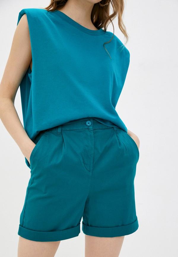 женские повседневные шорты united colors of benetton, бирюзовые